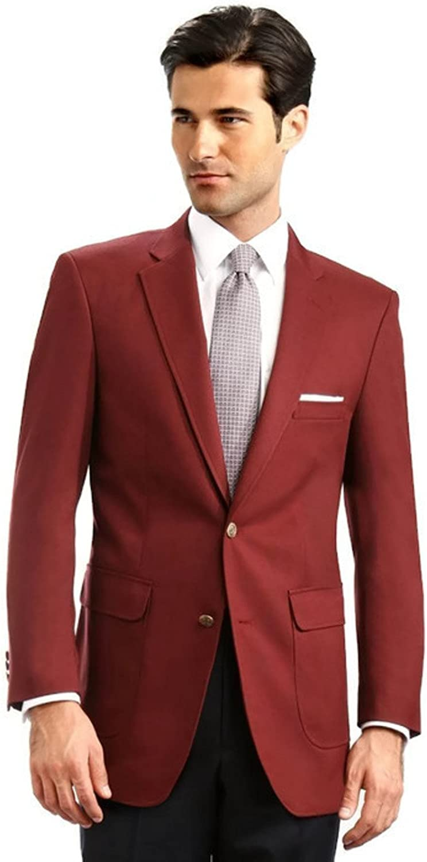Men's Elegant Classic 2 Button Blazer Sport Jacket - Burgundy, 38 Short