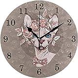 L.Fenn Floral Sin Pelo Gato Flor Sphynx Gato Reloj De Pared Decoración, Silencioso Reloj Redondo Sin Tictac Silencioso para Cocina Sala De Estar Dormitorio Baño Oficina