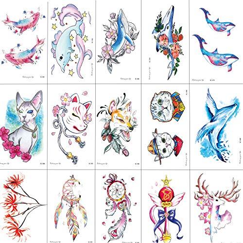 SZSMART Tatuaggi Temporanei per Bambini Ragazzi Ragazze, Tatuaggi Finti Temporanei Impermeabile Adesivi per la Festa di Compleanno Favori di Partito e Compleanni Giocattoli 15CM*10.5CM