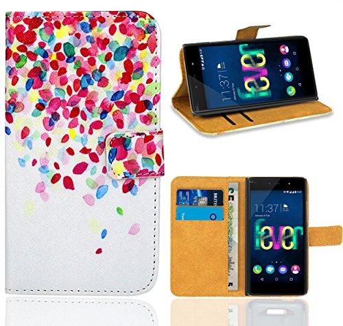FoneExpert® Wiko Fever 4G Handy Tasche, Wallet Hülle Flip Cover Hüllen Etui Ledertasche Lederhülle Premium Schutzhülle für Wiko Fever 4G