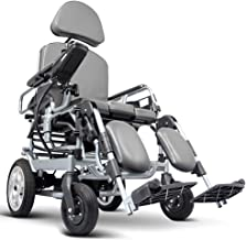 Electric Wheelchair with Potty,Tray Table,headrest Folding Portable Powerchair,Aluminum Alloy Travel Wheelchair,Drive with Electric Power Or Use As Manual Wheelchair for Disabled Elderly