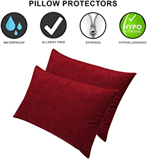 Dream Care Terrycloth Waterproof Dust-Proof Pillow Protector, 18 x 28 Inch, Set of 2, Maroon
