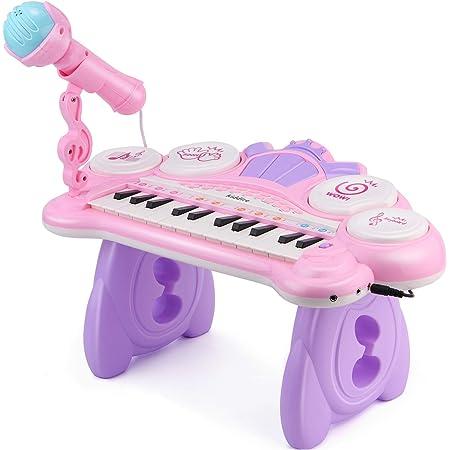 Kiddire Piano para Niño Mini Juguete de Piano 24 Teclas con Micrófono,Luces,MP3,Tambores y Modo de Enseñanza, Color Rosa