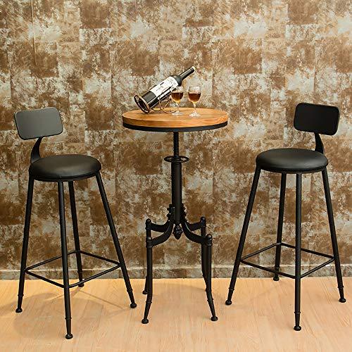Juego de bistro de metal rústico de 3 piezas, mesa y silla de jardín para jardín, juego de mesa y silla de patio de acero de primera calidad, tapete antideslizante de enchufe interno, para patio