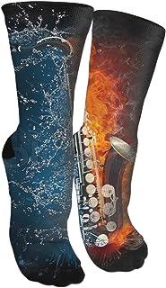 靴下 抗菌防臭 ソックス 水とファイヤーサクソホンアスレチックスポーツソックス、旅行&フライトソックス、塗装アートファニーソックス30 cmロングソックス