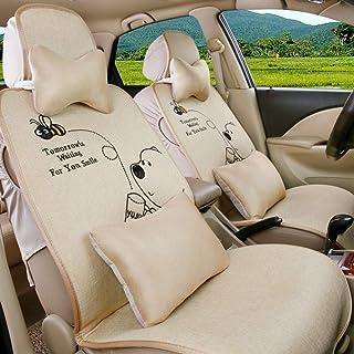 JKHOIUH Universal Fit Full Set Funda de Asiento de automóvil de Lino, se Adapta a la mayoría de los automóviles, Camiones, camionetas o Furgonetas Conjunto de Cubierta de Asiento Conjunto de accesori