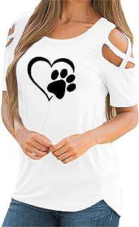 fd01a84fc5f785 Snowbuff Maglietta Manica Corta Donna Casuale T -Shirt Magliette estive  Maglia Loose Camicia Blusa Spalla