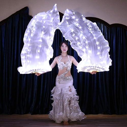 KT Mall Props de scène de Partie de lumière de Danse de Ventre de Voile de Fan de Soie de LED pour l'adulte, Accessoires de Costume de Danse 1.8M  0.9M
