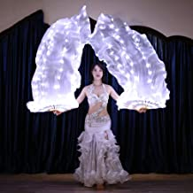 KT Mall Belly Dance LED Fan Veil - 1.8 Long Bamboo Fans Veil Hand Made Silk Fan for Dance, Party Stage Props/Outdoor