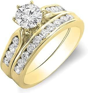 Two Tone Gold Finish Round Pave Diamond Square Engagement Wedding Ring 0.50 ct