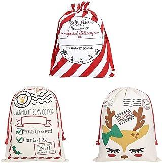 "GKanMore 3Pcs Christmas Drawstring Bags Extra Large Santa Sack 27.6""x19.7"" Cotton Santa Bag for"