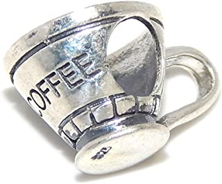 ICYROSE Solid 925 Sterling Silver Coffee Mug Charm Bead