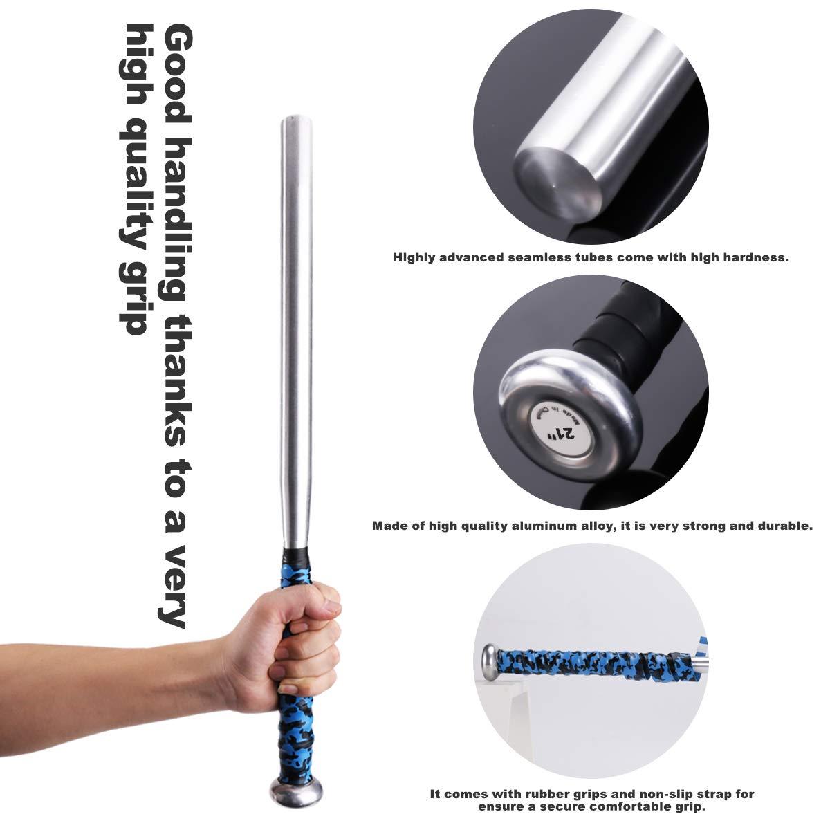 Caretoo Bate de b/éisbol de aleaci/ón de aluminio de color plateado grueso palo de b/éisbol barra casa en 21//31 pulgadas