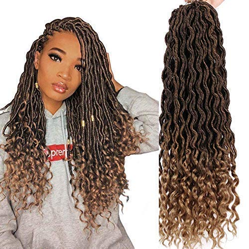 AISI BEAUTY Crochet Faux Locs Goddess Locs Crochet Hair Pre Looped Ombre Braiding Hair Crochet Locs with Curly Ends 20 Inch 6Pcs/Lot(T1B-27#)