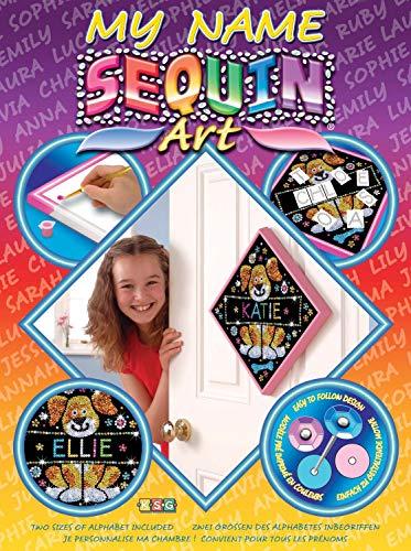 MAMMUT 8071205 - Sequin Art My Name Paillettenbild, Hund, Steckset mit Styropor-Rahmen, Bildvorlage, Buchstaben und weiterem Zubehör, Bastelset für Kinder ab 6 Jahre