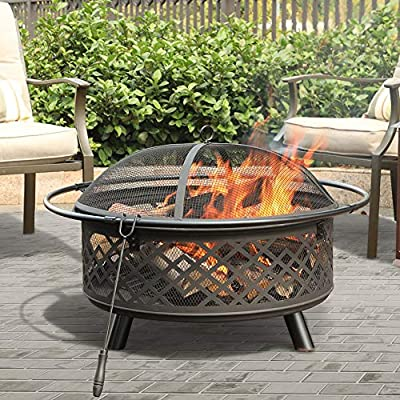 """PHI VILLA 32"""" Fire Pit Large Steel Patio Fireplace Cutouts Pattern with Poker & Spark Screen"""