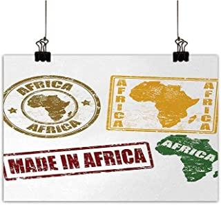 Anzhutwelve African Modern Frameless Painting Grunge Rubber Stamps Made in Africa Quote Inside Authentic Symbols Theme Bedroom Bedside Painting Yellow and Red 35