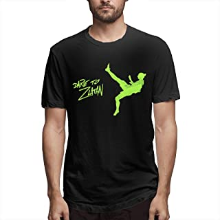 Ceasinng Male Cotton T Shirt Special Design with Dare to Zlatan Logo Black