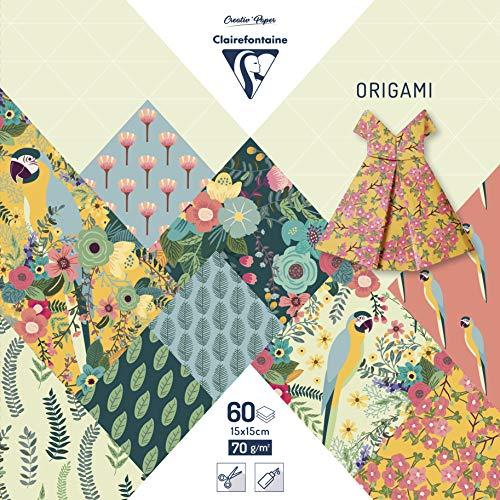 Clairefontaine 95351C - Une pochette origami 60 feuilles 15x15 cm 70g motifs assortis (30 motifs x 2 feuilles), Kiribati