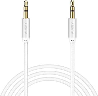 AUKEY Nylon Gold Plated Aux Cable 3.5mm Audio Cable 120 cm Silver