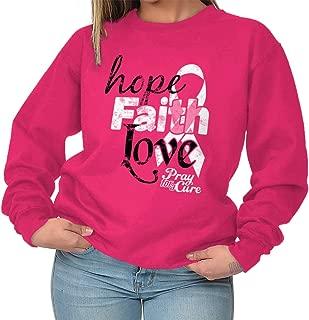 Hope Faith Love Breast Cancer Awareness Crewneck Sweatshirt