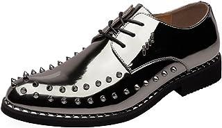 [Yingkou] メンズパンクスタイルの靴スムースPUレザーウエディングローファーレースアップ通気性の裏地付きオックスフォードリベットドレスシューズ