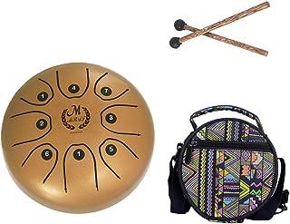 Huhudde 5.5 Inch C Key Tongue Drum Mini 8-Tone Steel Portable Hand Pan Drum Percussion Instrument