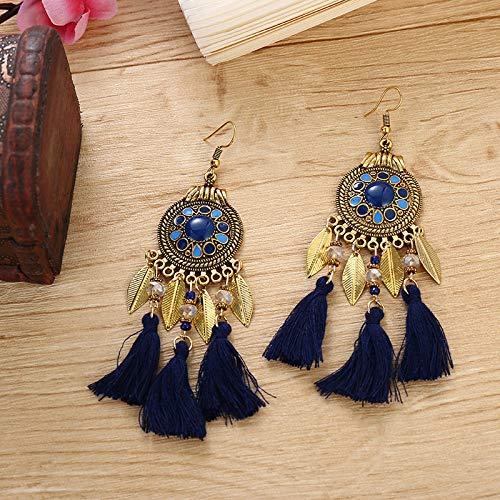 Pendientes Bohemios,Estilo Étnico Estilo Vintage Dangle Earings Joyería Mujeres Bohemia Hoja Cristal Abalorios Borla Largos Pendientes Accesorios Lindo Elegante Cumpleaños Regalos Para Mamá, Azul Mar