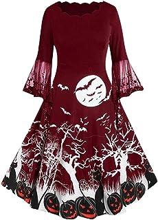 jerferr Frauen Halloween Gown Vintage Langarm V Ausschnitt Hausfrau Lace Print Kleid
