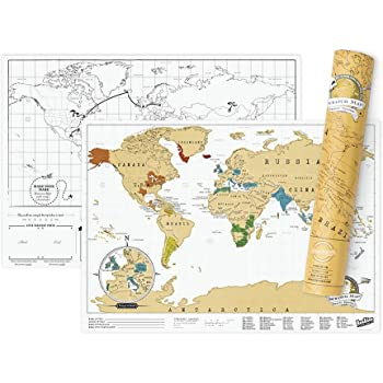 Luckies of London Ltd Scratch Map Travel Map – Travel Sized Personalized Scratch Off World map Poster, Manufactured in The UK