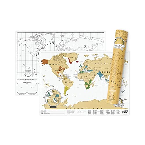 Scratch Map Travel Map – Travel sized personalized Scratch off world map poster, Manufactured in the UK