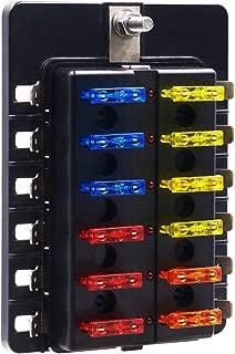 BlueFire 12 Way 30A 32V Blade Fuse Box Board with 24PCS Fuse + LED Warning Light for Car/Marine Boats/Automotive/Trike