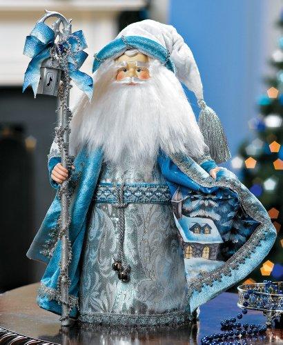 Santa Claus Winter Figurine Blue Christmas Home Accent Decoration