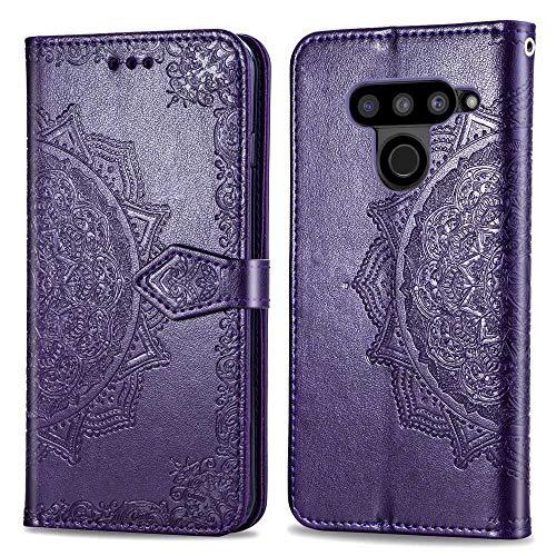 Bear Village Hülle für LG V50 ThinQ, PU Lederhülle Handyhülle für LG V50 ThinQ, Brieftasche Kratzfestes Magnet Handytasche mit Kartenfach, Violett
