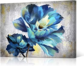 """HOMEOART Blue Flower Art Print Floral Painting Poppy Blooms Still Life Picture Giclee Canvas Artwork Framed Home Kitchen Decor Blue Gold Grey 24""""x36"""""""