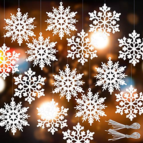 RECUTMS Winter Christmas Hanging Snowflake Decorations - 40Pcs White Snowflakes Hanging Garland for Christmas Winter Wonderland Holiday New Year Party Home Decoration,4 Inches,2 Pattern (White)