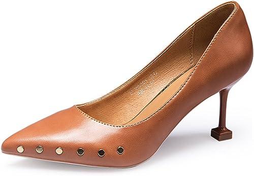 FEIFEI zapatos de mujer Summer Fashion Rivet zapatos de tacón alto de tacón alto de 7CM de tacón bajo zapatos sueltos ( Color   marrón , Tamaño   EU36 UK4 CN36 )