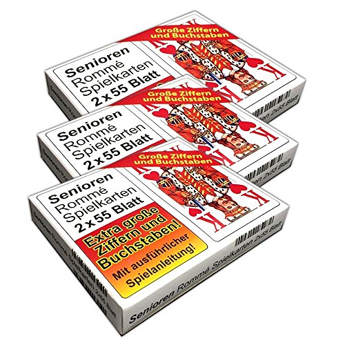 HAC24 3er Set Romme Spielkarten 2x55 Kartendeck große Schrift Canasta Bridge Karten