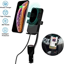 Cigarette Lighter Car Mount,3-In-1 Wireless Charging&Car Phone Holder&Dual USB Charger,LED Display Voltage Current for Samsung Galaxy S10+ Plus/S10/S9/Note9 and iPhone X/XR/XS Max and QI-Enabled Phone