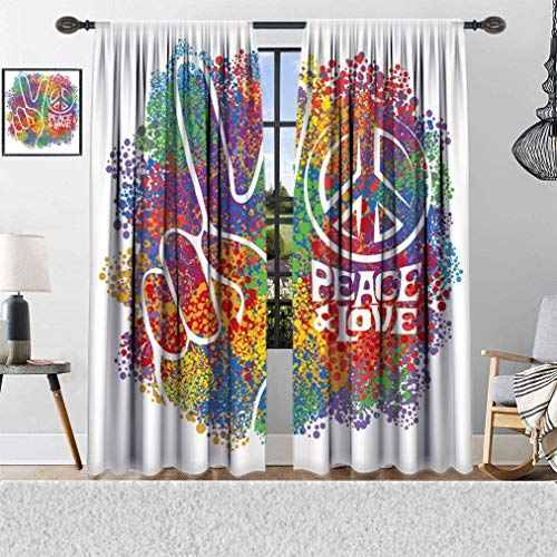 Hippie Window Curtains, Two Fingers Symbols as a Sign of Victory and Letter in Love and Peace 60s 70s Style Artwork, Window Curtains for Bedroom Living Room, 2 Panels