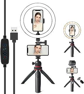 PLEASION 10 tums LED-ringlampa med stativstativ och telefonhållare, selfie-ringlampa med stativställ, 3-i-1 ringlampor för...
