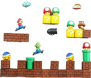 BeautySha Lots of 3D Supre Mario Fridge Magnets Sets for Home Room Decor,Decorative Refrigerator,Fun School Office Whiteboard Magnet (39pcs)