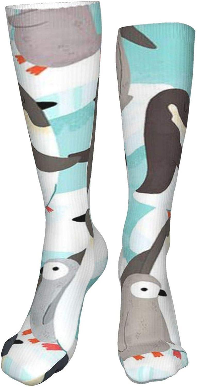 Cute Penguin Women Premium High Socks, Stocking High Leg Warmer Sockings Crew Sock For Daily And Work