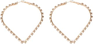 Crystal Gold Tone Diamante Heart Hoop Earrings