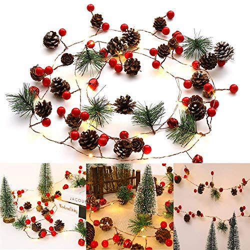 Ocosy - Guirnalda de Luces de Navidad con 20 Luces LED de 6,56 pies Funciona con Pilas.