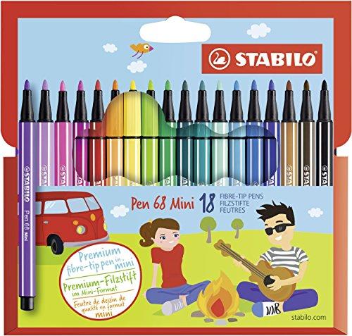 Premium-Filzstift - STABILO Pen 68 Mini - 18er Pack - mit 18 verschiedenen Farben