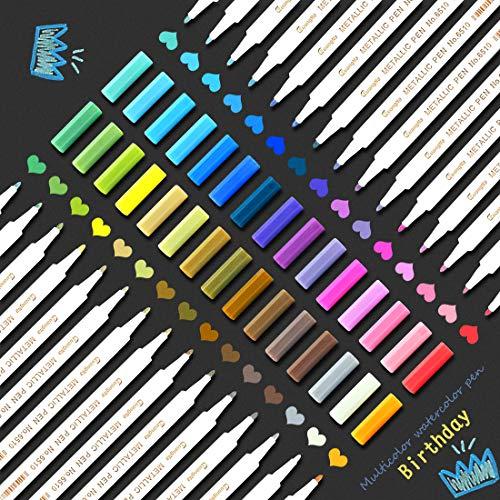 O-Kinee Pennarelli Metallici, Metallic Marker Penne, 30 Colori Premio Pittura Arte Pennarello Set per Ceramica, Tessuti, Plastica, Vetro, Metallo, Legno, Roccia, Tela, Carta, Fotografie & DIY