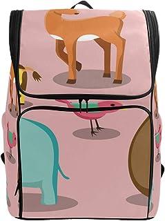 Fantazio - Mochila para portátil de viaje, senderismo, acampada o colegio, diseño de jirafa, alce, león, elefante, elefante