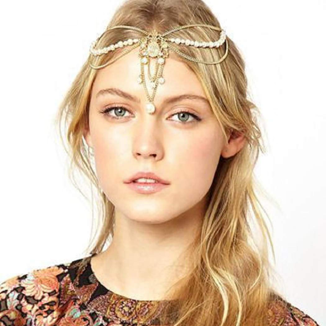 Jeweky Tassel Pearl Head Chain Gold Wedding Headpieces Pendant Bride Princess Hair Acessories Jewelry for Women and Girls