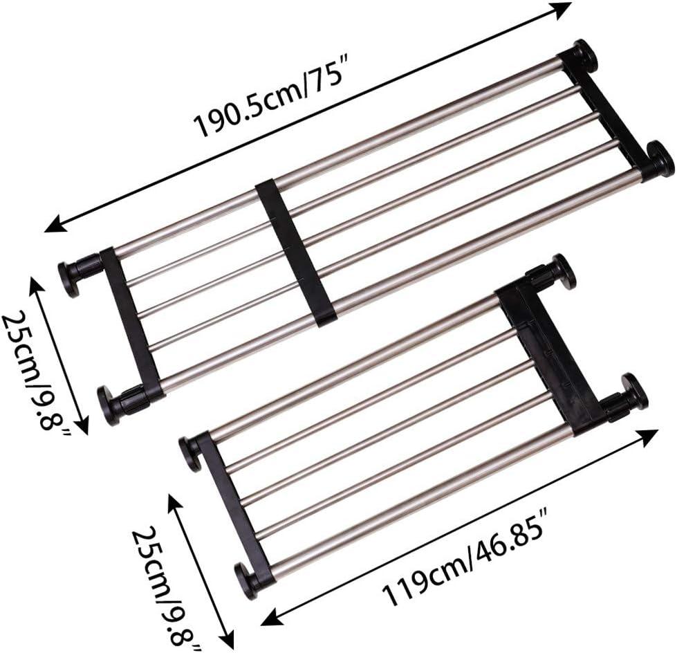 Black Hershii Expandable Closet Tension Shelf Rod Adjustable Metal Storage Rack Cabinet Organizer DIY Divider Separator Shelves for Wardrobe Cupboard Kitchen Bathroom 46.85-75inches